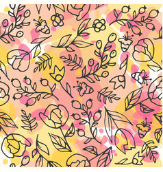 floral seamless pattern herbal tea and wild vector image