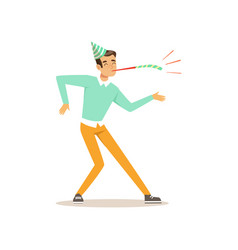 Funny young man dancing at birthday party cartoon vector