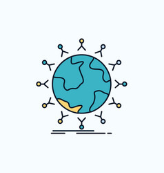 global student network globe kids flat icon green vector image