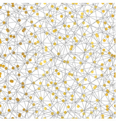 gold and grey dots network seamless pattern vector image