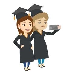 Graduates making selfie vector