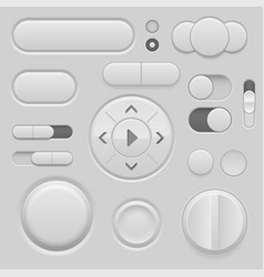 Gray interface buttons 3d set of ui icons vector