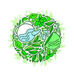 green matcha tea fresh leaf circle symbol vector image