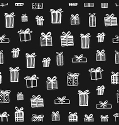 hand drawn seamless pattern christmas presents vector image