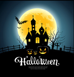 Happy halloween party house on moon vector