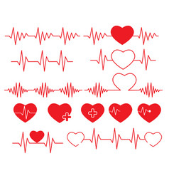 Heartbeat line on white background set cardiogram vector