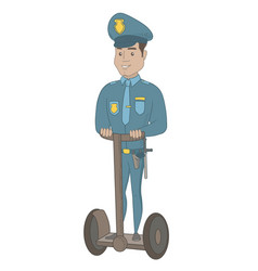 Hispanic security guard riding electrical scooter vector