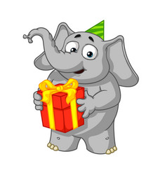 holds a gift congratulates vector image