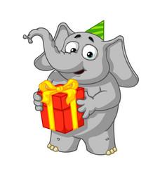 Holds a gift congratulates vector