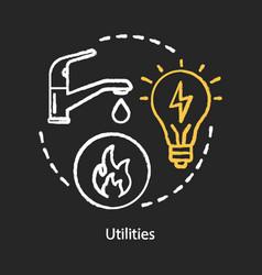 Household utilities chalk concept icon public vector