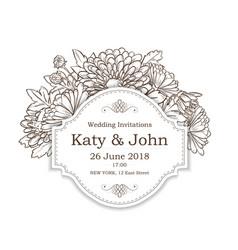 invitation with chrysanthemum flowers vector image