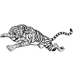 Jumping tiger black and white vector