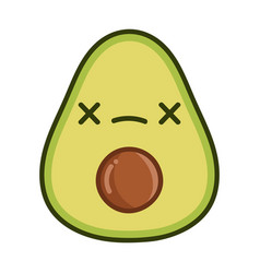 Kawaii dead avocado cartoon vector