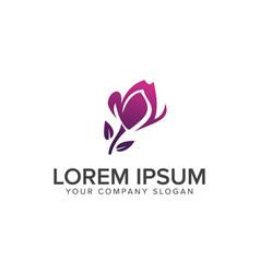 landscaping purple flower logo design concept vector image