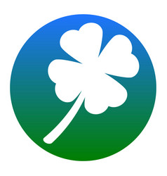 leaf clover sign white icon in bluish vector image