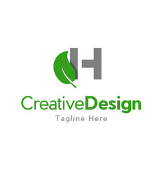 letter h leaves creative business logo vector image