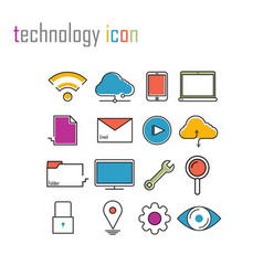 Line icons technology internet iconsmodern vector