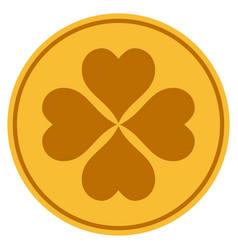 Lucky cloever gold coin vector