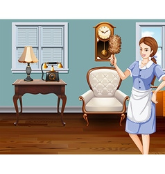 Maid cleaning the house vector