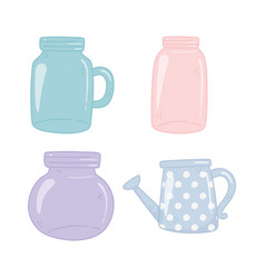 Mason jars watering can empty decoration ornament vector