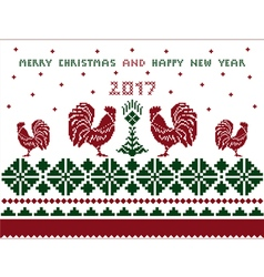 Merry christmas and happy new year card pattern vector