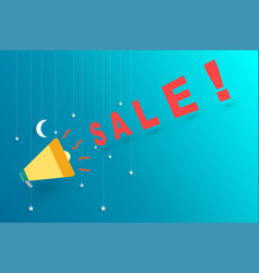 midnight sale announce with megaphone vector image