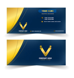 modern blue and gold name card vector image
