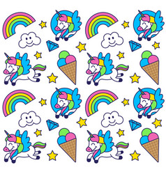 pattern with happy unicorn vector image