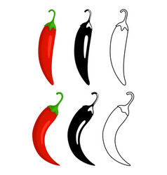 peppers flat and outline icons vector image