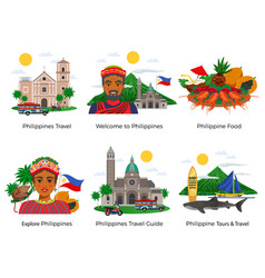 philippines travel compositions set vector image