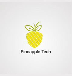 pineapple tech logo iconelement and template vector image