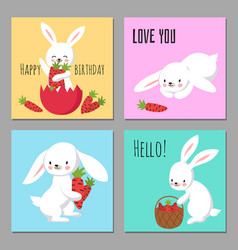 printable cards with cartoon character bunnies vector image