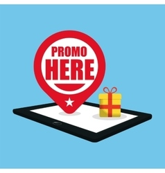 Promo here online gift pin map vector