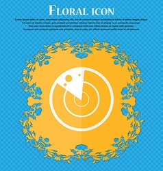 Radar icon sign Floral flat design on a blue vector