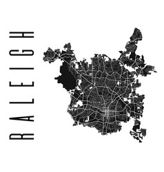 Raleigh map detailed map raleigh city poster vector