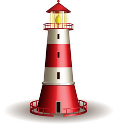 Red lighthouse isolated on white background vector image