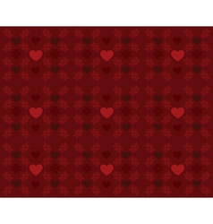 Red pattern with hearts2 vector image vector image