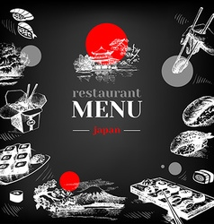 Restaurant chalkboard Japanese food menu vector image