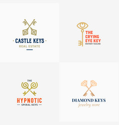 retro keys small collection abstract signs vector image