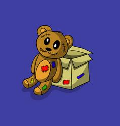 Scary teddy bear vector