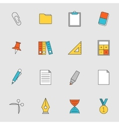School education flat line icons vol 2 vector