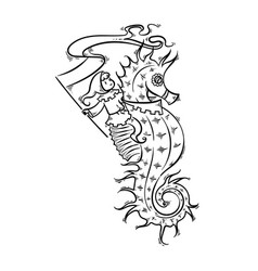 Seahorse with elf-rider vector