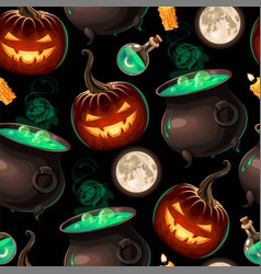 seamless pattern with carved pumpkins with lights vector image