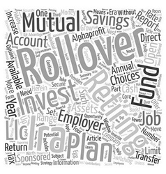 Secure Your Retirement with a Rollover IRA text vector image