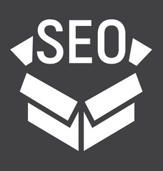 seo package glyph icon seo and development box vector image