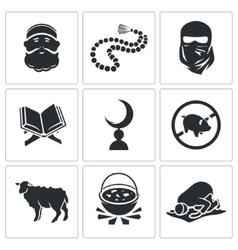Set islamic icons vector