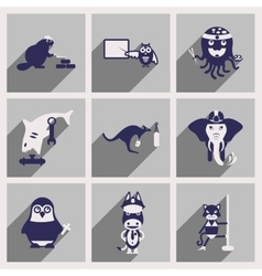 Set of flat icons with long shadow animals vector