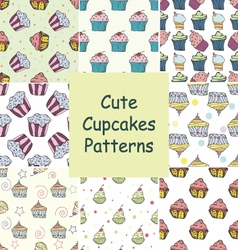 Set of hand drawn seamless patterns with cupcakes vector image