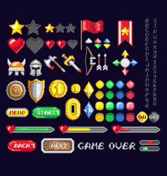 Set of pixel game art icons vector