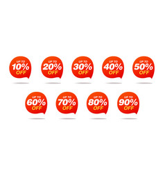 Set sale tags discount stickers pack vector